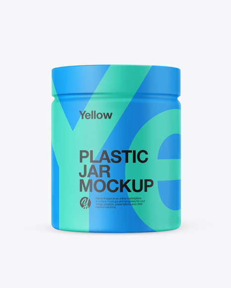 5b22858a0d36a Plastic Jar in Matte Shrink Sleeve Mockup templates