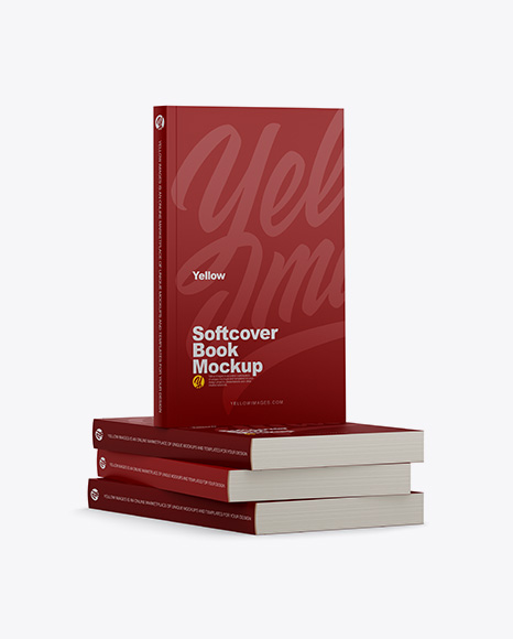 4 Matte Softcover Books Mockup - Half Side View