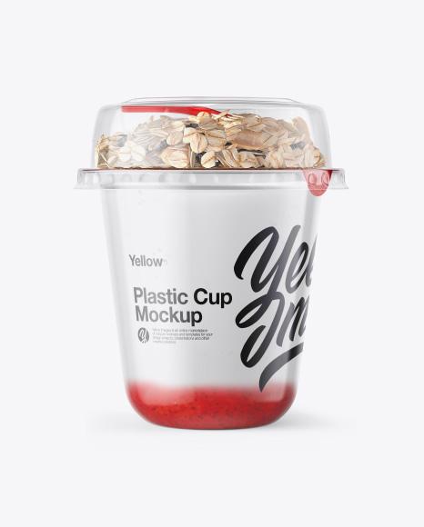 Cup with Strawberry Yogurt and Muesli Mockup