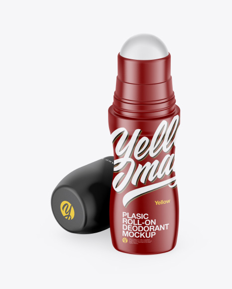 Matte Roll-On Deodorant Mockup - Front View (High-Angle Shot)