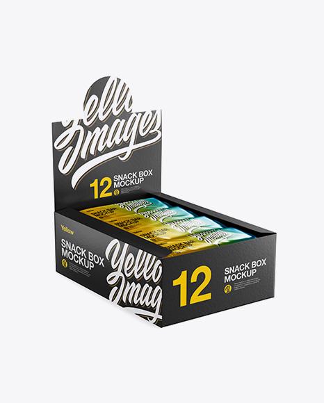 12 Metallic Snack Bars Display Box Mockup - Halfside View (High-Angle Shot)