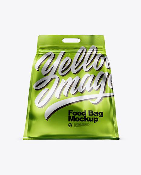Matte Metallic Stand-up Food Bag Mockup - Hero Shot