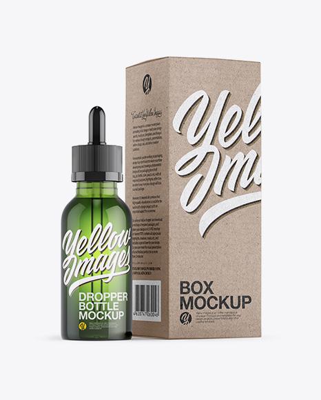 Green Dropper Bottle W/ Kraft Paper Box Mockup