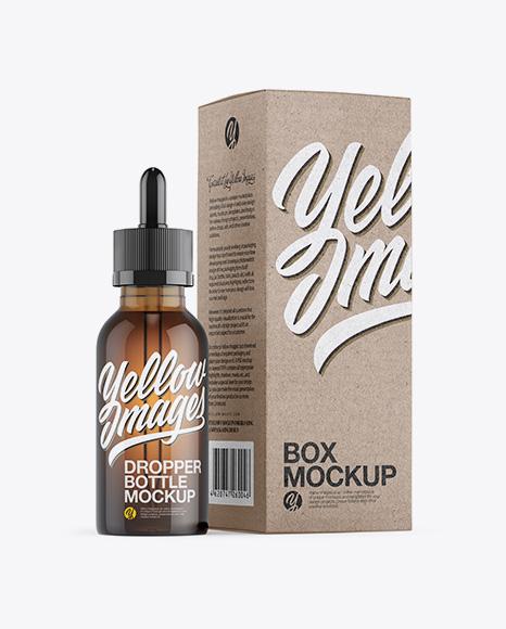 Amber Dropper Bottle W/ Kraft Paper Box Mockup