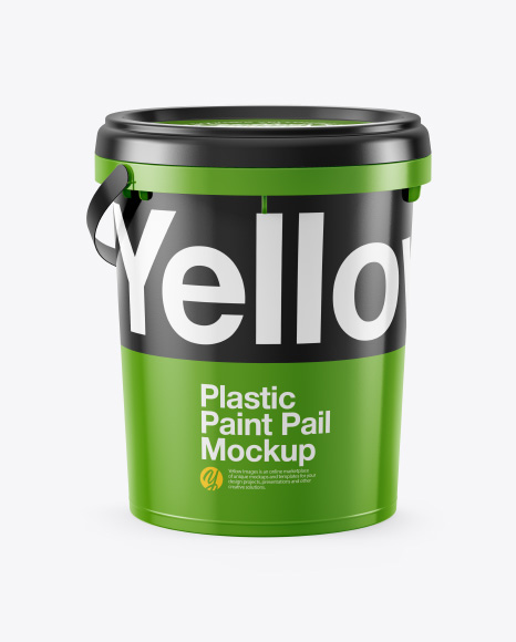 Plastic Bucket Mockup - Half Side View