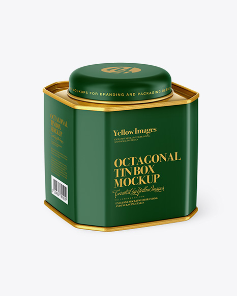 Matte Octagonal Tin Box Mockup - Half Side View (High-Angle Shot)