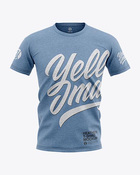 Men's Heather T-shirt Mockup - Front View