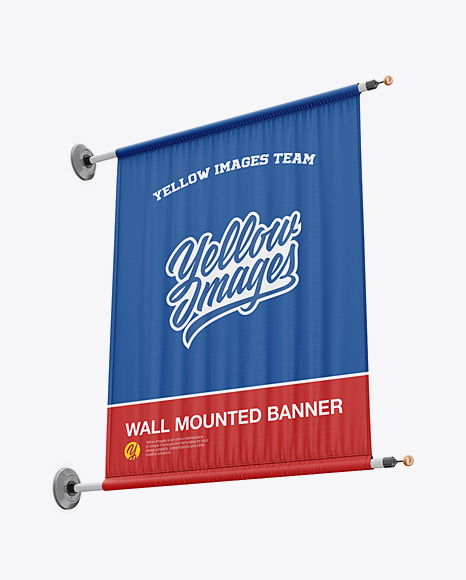 Wall Mounted Banner Mockup - Low-Angle Shot