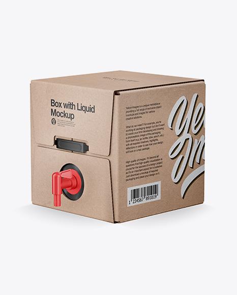 Kraft Box with Liquid Mockup - Half Side View