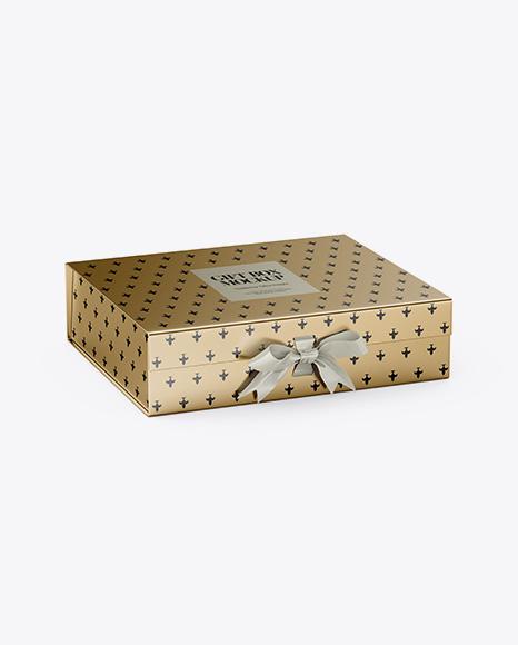 Metallic Gift Box With Bow Mockup - Half Side View (High-Angle Shot)