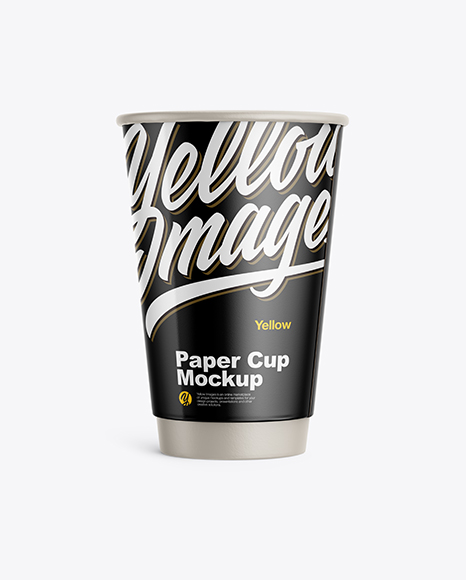 Glossy Paper Coffee Cup Mockup - Front View