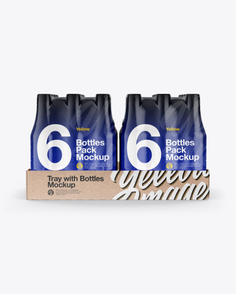 Kraft Tray with 6 Bottles Packs Mockup - Front View