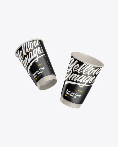 Two Glossy Paper Coffee Cups Mockup