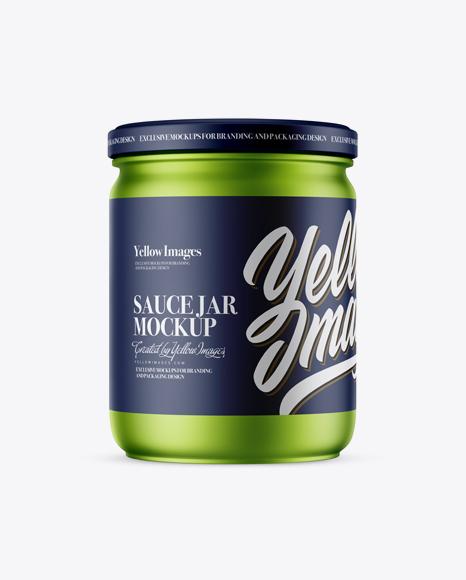 Matte Metallic Sauce Jar Mockup