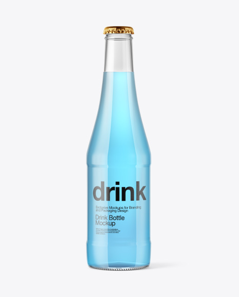 Glass Bottle with Blue Drink Mockup