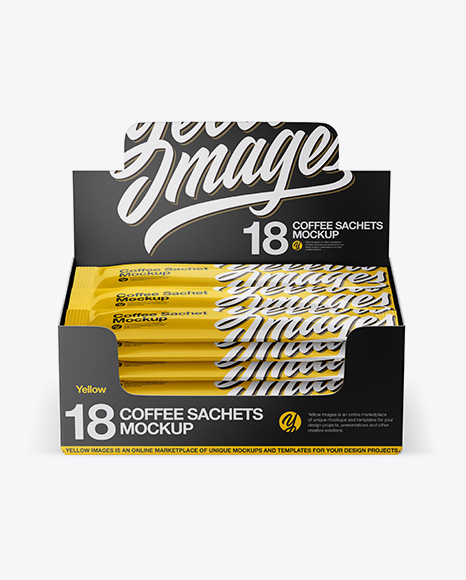 18 Coffee Sachets Mockup - Front View