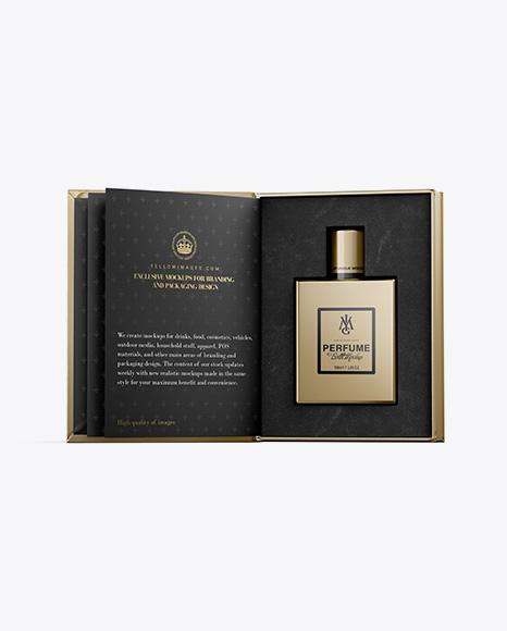 Metallic Gift Box With Perfume Bottle Mockup - Front View
