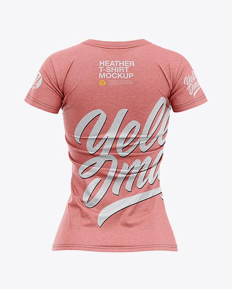 Women's Heather Slim-Fit T-Shirt Mockup - Back View