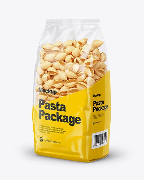 Conchiglie Pasta Mockup - Half Side View