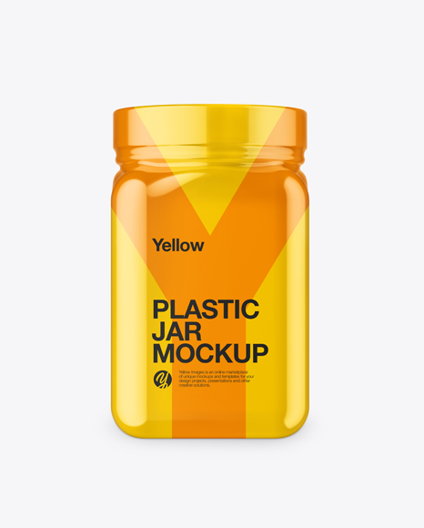 Plastic Jar in Glossy Shrink Sleeve Mockup - Front View