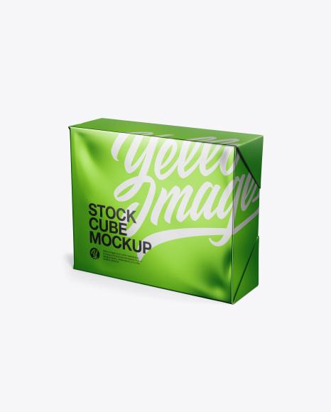 Metallic Stock Cube Mockup - Half Side View (High Angle Shot)