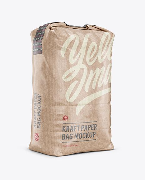 3 kg Kraft Paper Bag Mockup - Halfside View