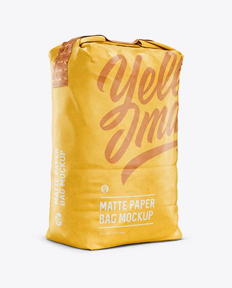 Matte Paper Bag Mockup - Halfside View