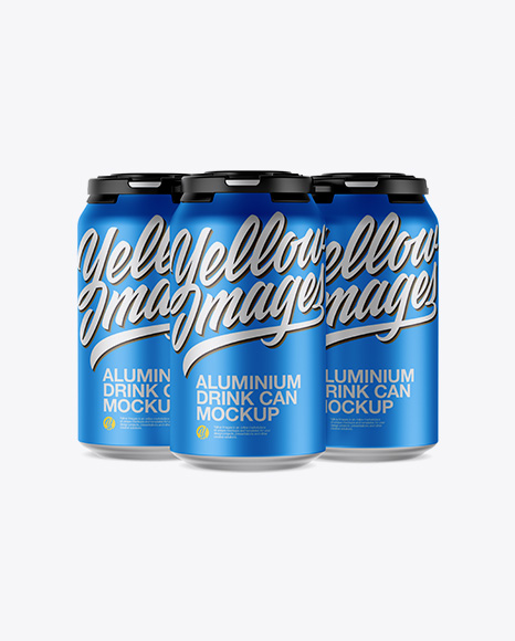 Pack of 3 Matte Metallic Cans with Plastic Holder Mockup - Front View