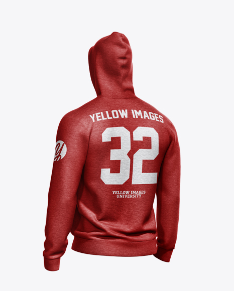 Melange Men's Full-Zip Hoodie Mockup - Back Half Side View