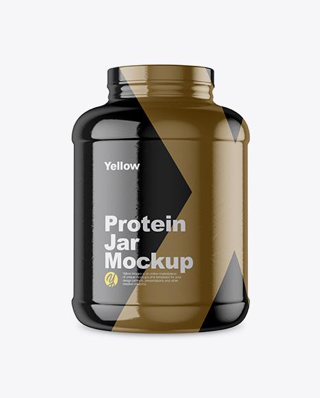 5lb Protein Jar in Glossy Shrink Sleeve Mockup