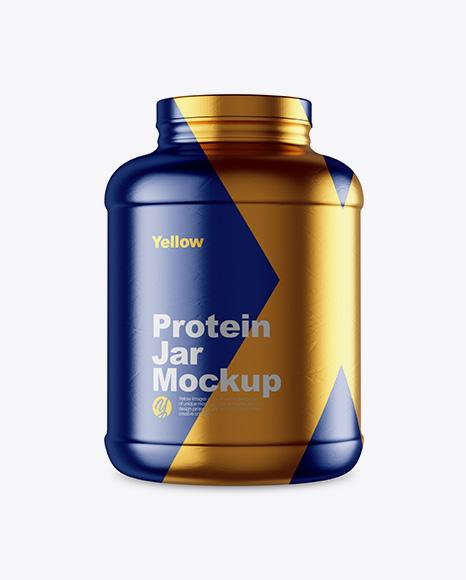5lb Protein Jar in Metallic Shrink Sleeve Mockup