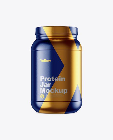 2lb Protein Jar in Metallic Shrink Sleeve Mockup