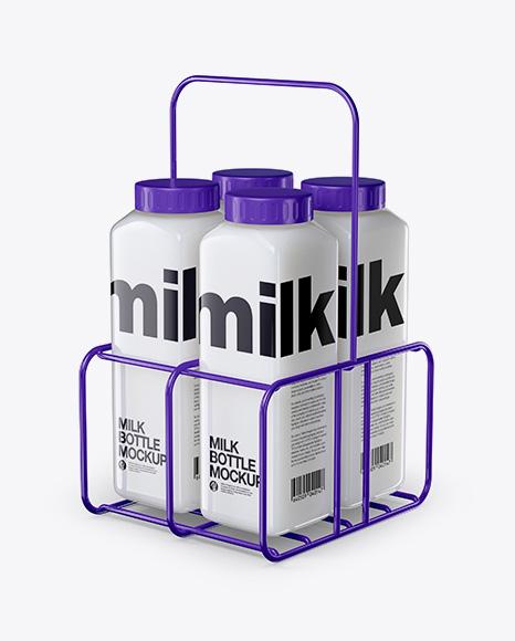 Milk Bottles Mockup - Half Side View (High Angle Shot)