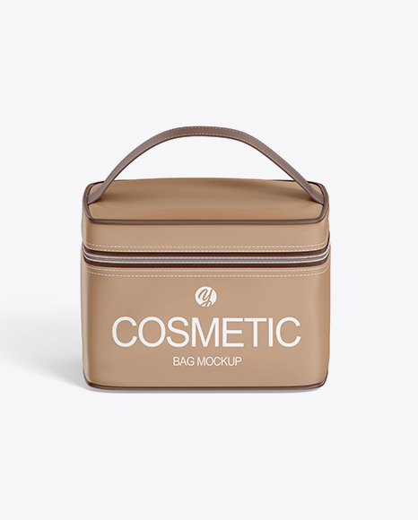 Cosmetic Bag Mockup - Front View (High-Angle Shot)