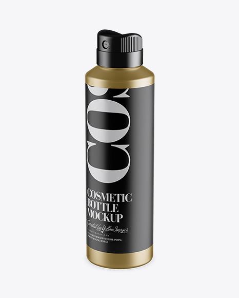 Metallic Spray Bottle Mockup - Half Side View (High-Angle Shot)