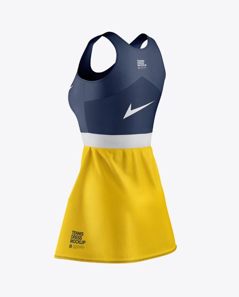 Women's Tennis Dress Mockup - Back Half Side View