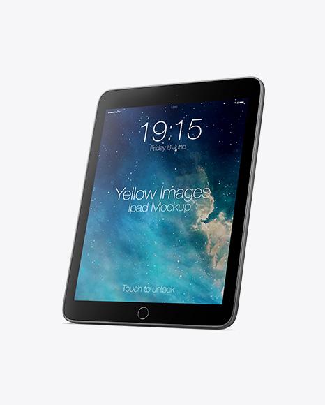 Vertical iPad Mockup - Half Side View