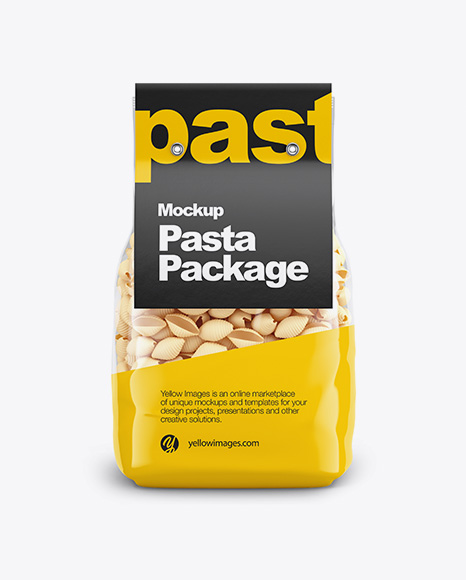 Conchiglie Pasta with Paper Label Mockup - Front View