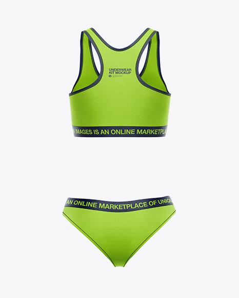 Women`s Underwear Kit Mockup - Back View