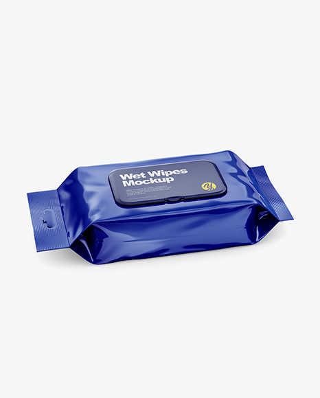Glossy Wet Wipes Pack W/ Plastic Cap Mockup - Half SIde View (High Angle Shot)