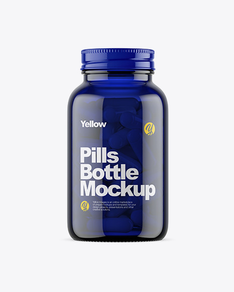 Dark Blue Glass Bottle With Pills Mockup
