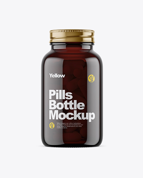 Dark Amber Glass Bottle With Pills Mockup