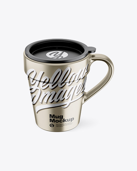 Metallic Mug w/ Cap Mockup - Front View (High-Angle Shot)