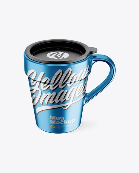 Matte Metallic Mug w/ Cap Mockup - Front View (High-Angle Shot)