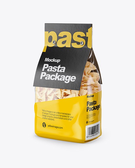 Farfalle Pasta with Paper Label Mockup - Half Side View
