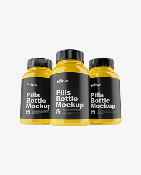Three Glossy Pills Bottles Mockup - Front View (Hero Shot)