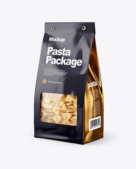 Paper Bag with Fiocchi Rigati Pasta Mockup - Half Side View