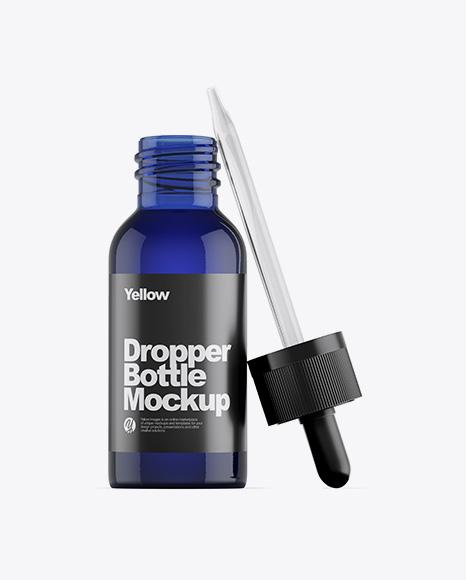 Opened Blue Glass Dropper Bottle Mockup