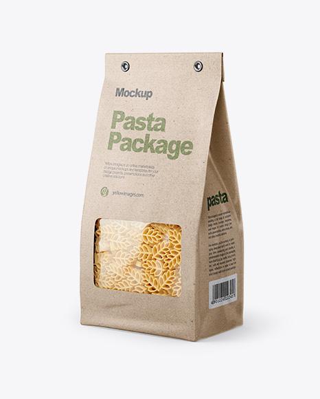 Kraft Bag with Spighe Pasta Mockup - Half Side View