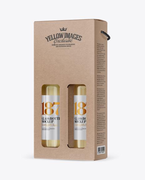 Kraft White Wine Bottles Box Mockup - Half Side View